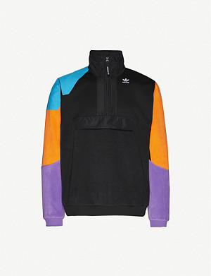 ADIDAS Funnel-neck logo-print fleece sweatshirt