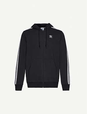 ADIDAS Trefoil-embroidered cotton stretch-jersey hoody