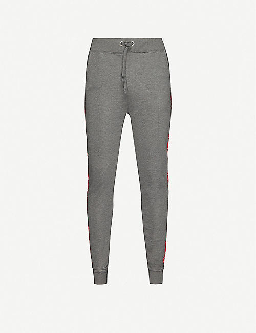 ALPHA INDUSTRIES Logo-tape cotton-blend jogging bottoms