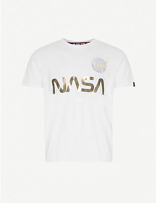 ALPHA INDUSTRIES: Nasa-print reflective-text cotton-jersey T-shirt