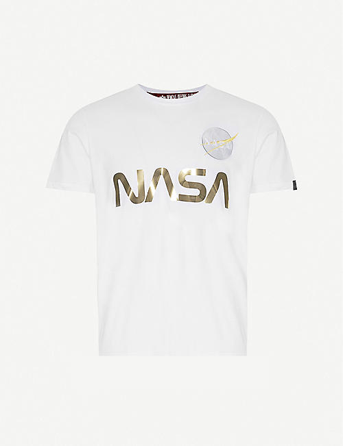 ALPHA INDUSTRIES Nasa-print reflective-text cotton-jersey T-shirt