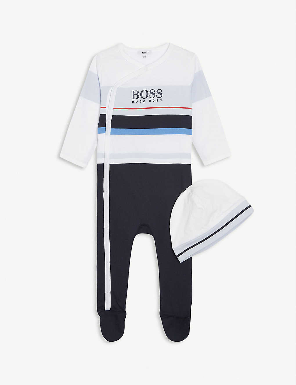 BOSS: Logo cotton babygrow and hat set 1-18 months