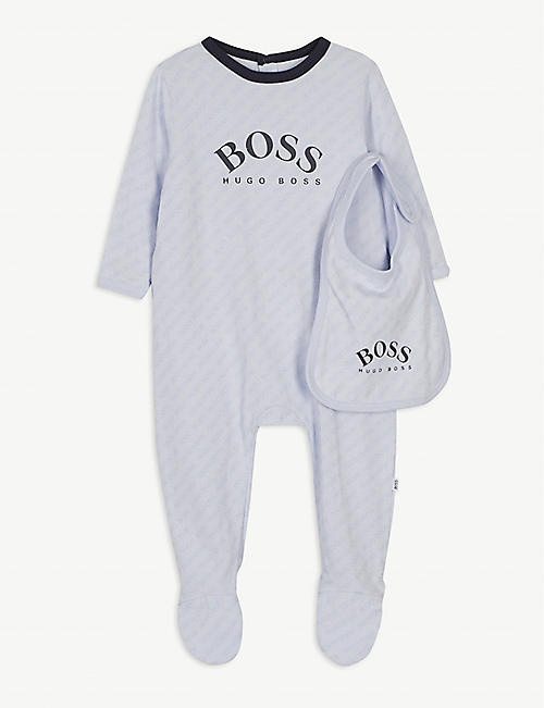 BOSS: All-over logo cotton all-in-one and bib set 1-18 months