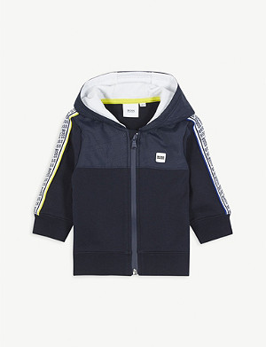 BOSS Logo-print cotton-blend hoody 3-36 months