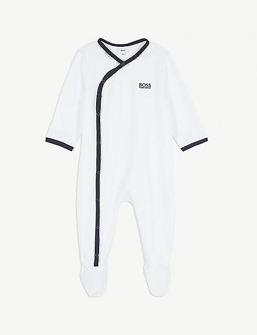 BOSS: Logo-print cotton sleepsuit 1-18 months