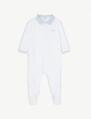 BOSS Logo-print cotton sleepsuit 1-18 months