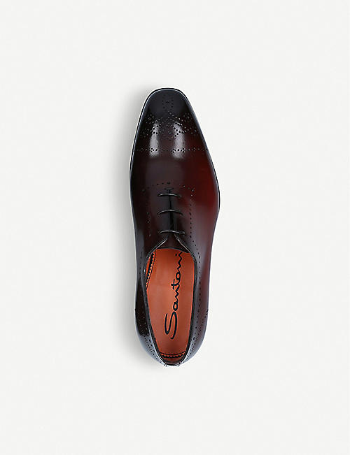 SANTONI Levante brogue-detail leather Oxford shoes