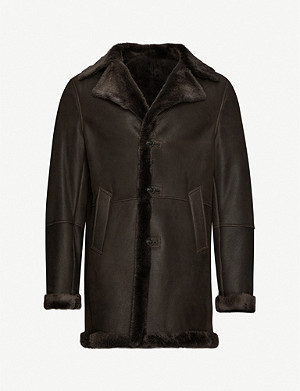 OSCAR JACOBSON Milton padded-shoulder leather jacket