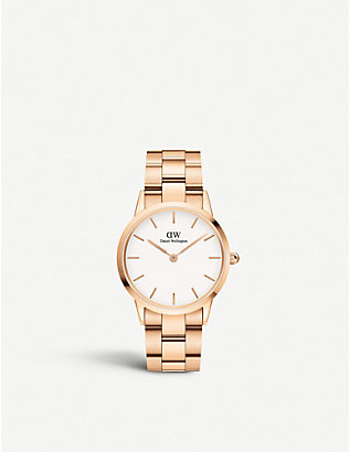 DANIEL WELLINGTON: DW00100213 Iconic Link rose-gold plated stainless steel watch