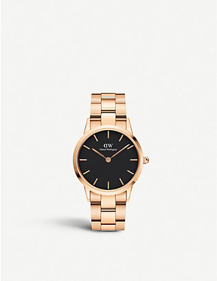 DANIEL WELLINGTON: DW00100214 Iconic Link rose-gold plated stainless steel watch