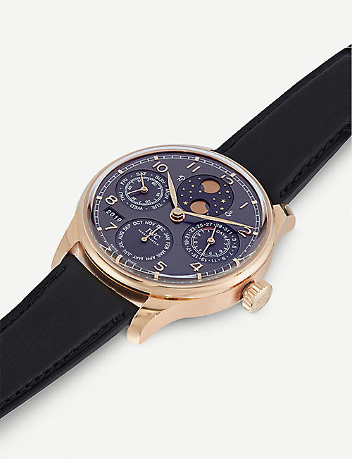 IWC SCHAFFHAUSEN IW503404 Portugieser Perpetual 18-carat gold and leather watch