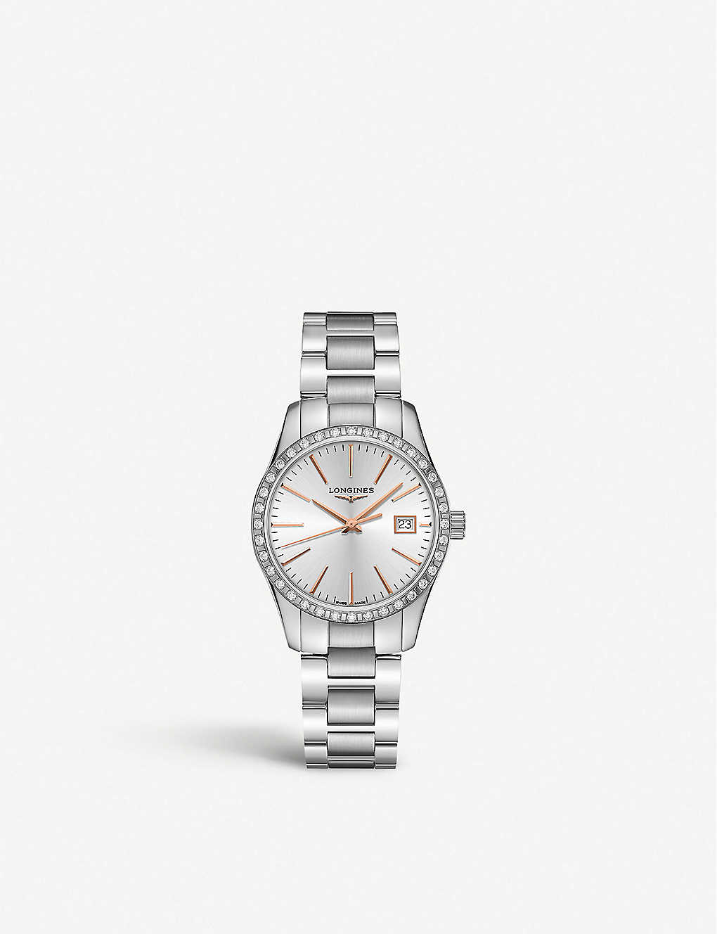 LONGINES: L2.386.0.72.6 Conquest Classic stainless-steel and 0.601ct diamond quartz watch
