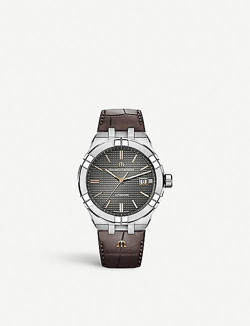 MAURICE LACROIX: AI6008-SS001-331-1 Aikon Automatic stainless steel and leather watch