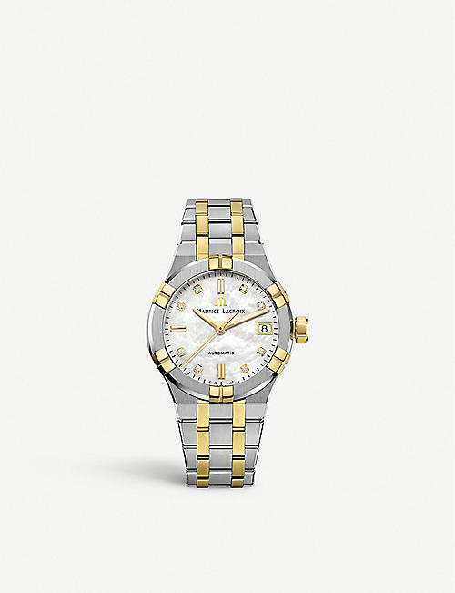 MAURICE LACROIX: AI6006-PVY13-170-1 Aikon stainless steel, yellow-gold PVD and diamond watch