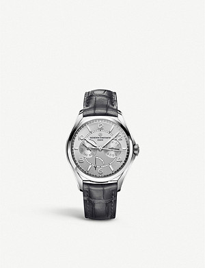 VACHERON CONSTANTIN Fiftysix Day-Date stainless steel and alligator leather watch