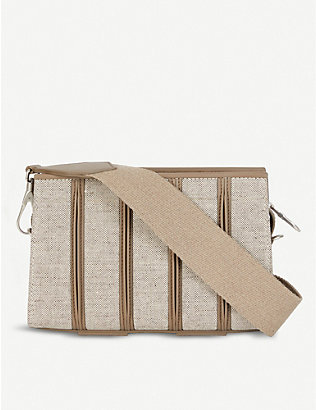 MAX MARA: Whitney leather and canvas clutch bag