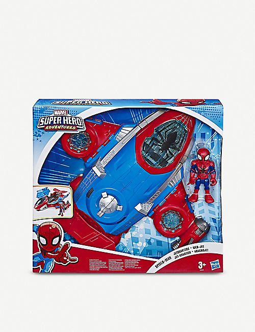 SPIDERMAN: Disney Marvel Super Hero Adventures Spider-Man Jetquarters action figure and vehicle set