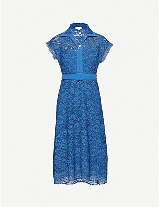 CLAUDIE PIERLOT: Belted lace midi dress