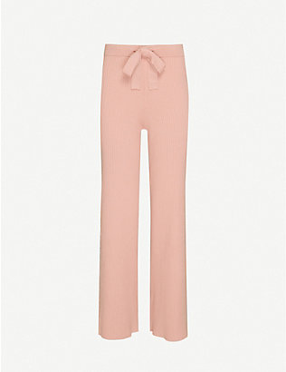 LIVE THE PROCESS: Belted Rib wide-leg knitted trousers