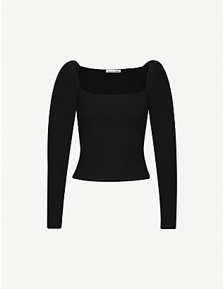 REFORMATION: France puffed-shoulder stretch-lyocell top