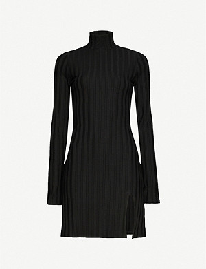 REFORMATION Libra striped stretch-jersey mini dress