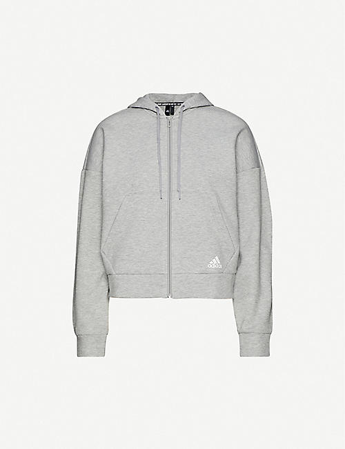ADIDAS PERFORMANCE Cotton-blend jersey hoody