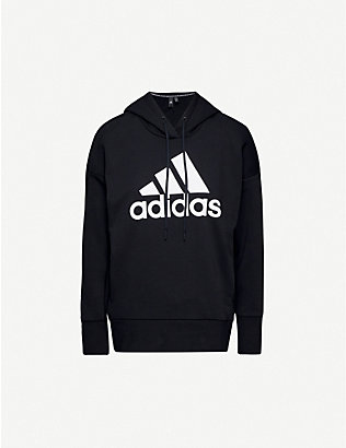 ADIDAS PERFORMANCE: Logo-print cotton-blend hoody