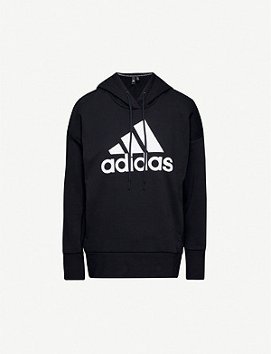 ADIDAS PERFORMANCE Logo-print cotton-blend hoody