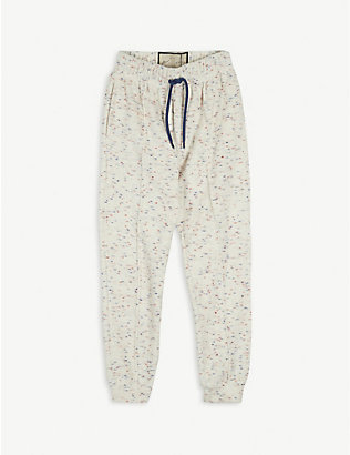 PREVU: Milas flecked towelling cotton-blend jogging bottoms 4-14 years