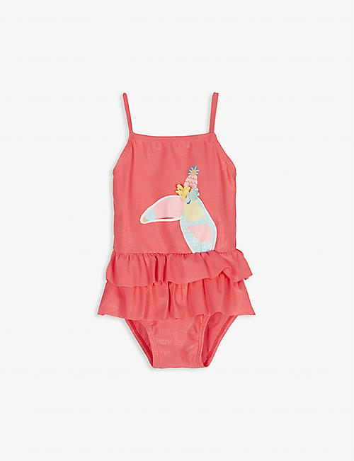 BILLIE BLUSH: Tropical print ruffled swimsuit 3-36 months