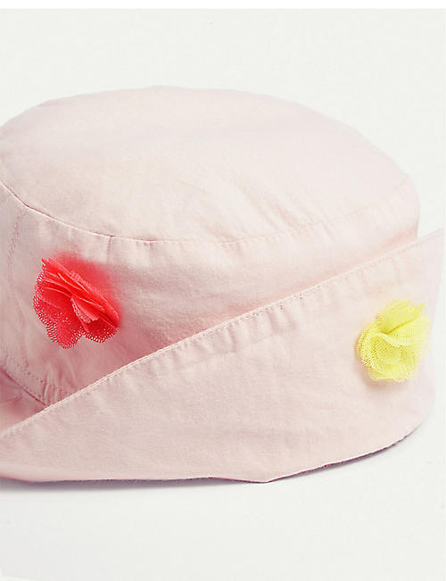 BILLIE BLUSH Tulle flower cotton bucket hat 6-48 months