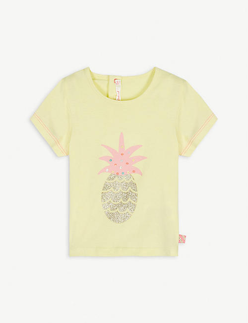 BILLIE BLUSH Glitter pineapple motif cotton T-shirt 6-12 months