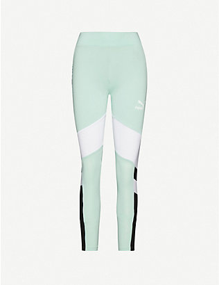 PUMA: Logo-print cotton-blend jersey leggings