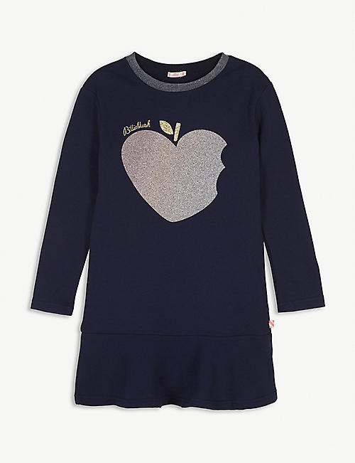 BILLIE BLUSH Glitter apple-print cotton sweatshirt dress 4-12 years