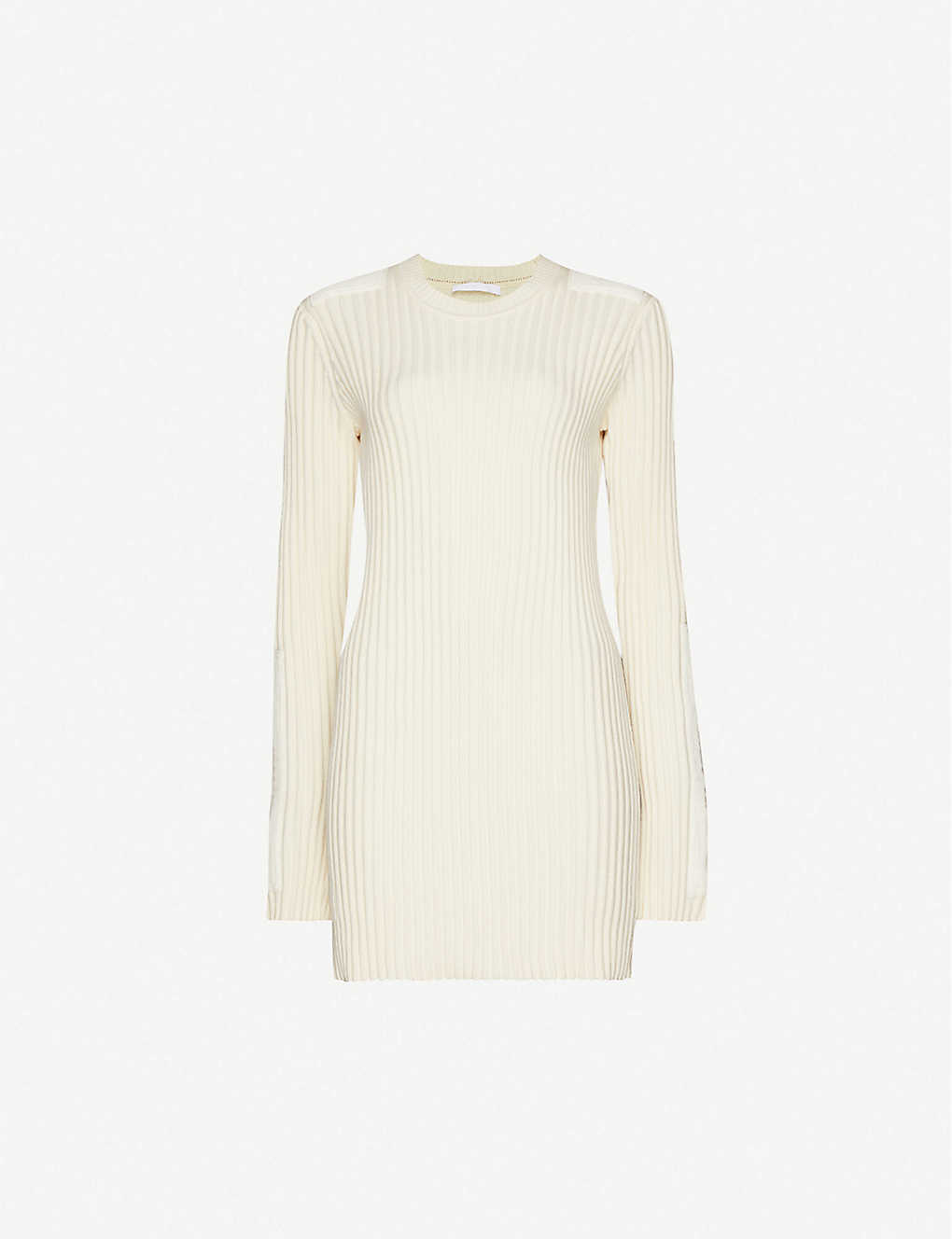 HELMUT LANG: Scoop-neck cotton and cashmere-blend knitted mini dress