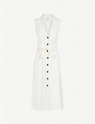 REISS: Rosalind sleeveless crepe midi dress