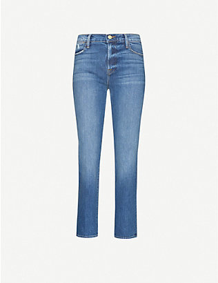 FRAME: Le High Straight high-rise recycled stretch-denim jeans