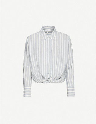 FRAME: Striped knotted linen shirt