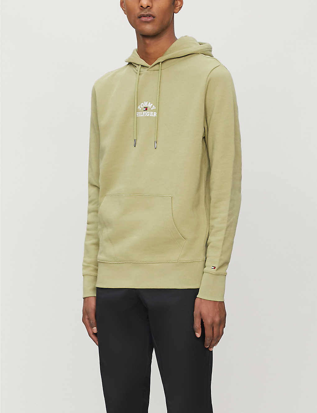 TOMMY HILFIGER: Brand-embroidered cotton-jersey drawstring hoody