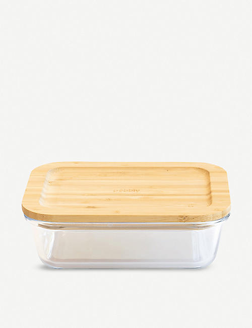 PEBBLY Glass container with bamboo lid 1040ml