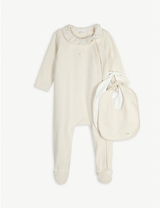 CHLOE: Frilled cotton babygrow and bib set 1-9 months