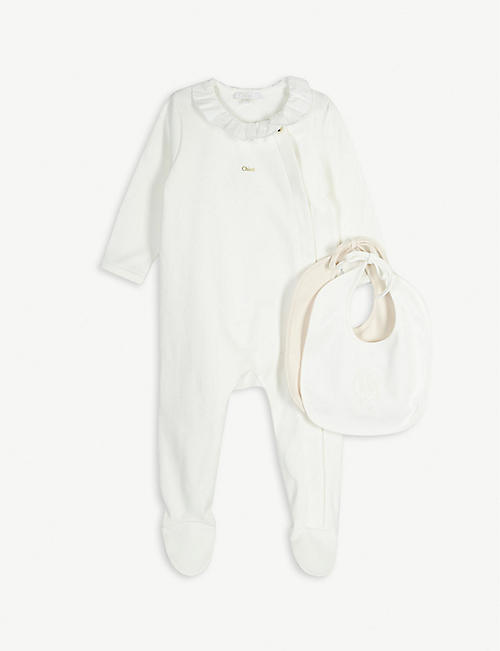 CHLOE Frilled cotton babygrow and bib set 1-9 months