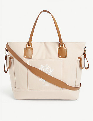 CHLOE: Logo embroidered cotton changing bag