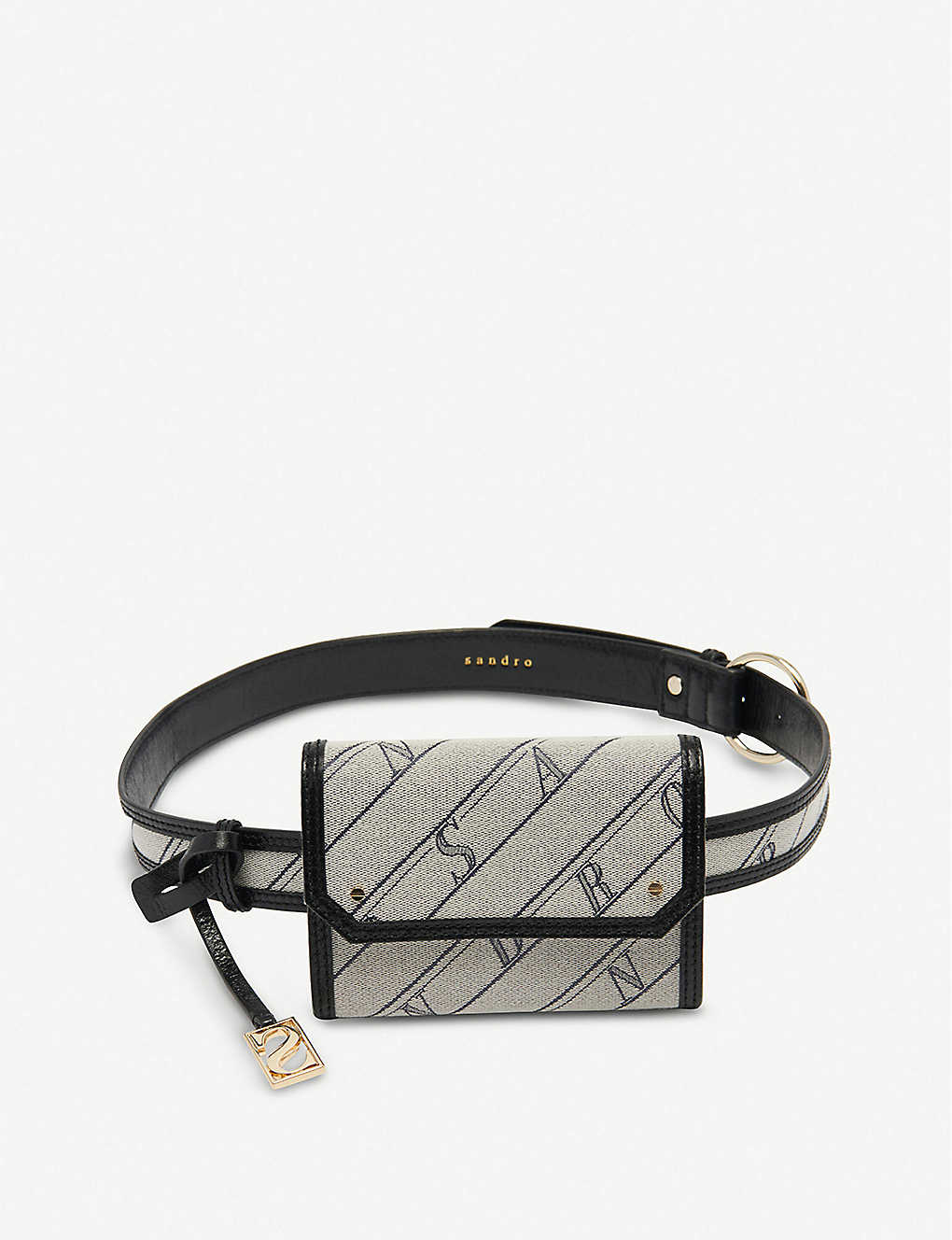 SANDRO: Saint Honore small cotton and leather belt bag