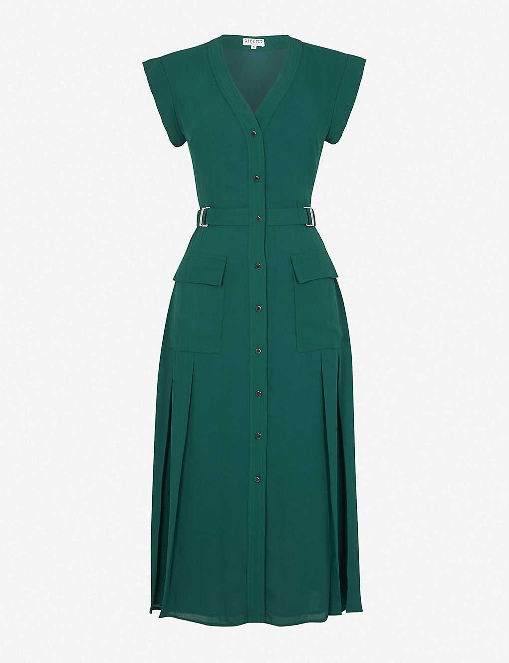 CLAUDIE PIERLOT: Tie-belt crepe midi dress