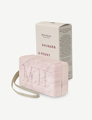 MILLER HARRIS Rhubarb & Peony Soap on a Rope soap bar
