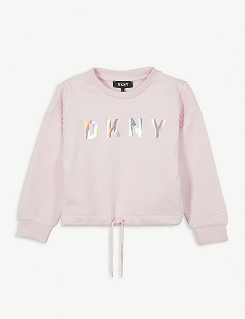 DKNY Foil logo cropped cotton sweatshirt 4-12 years