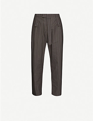 CRAIG GREEN: Pinstriped straight cotton-poplin trousers