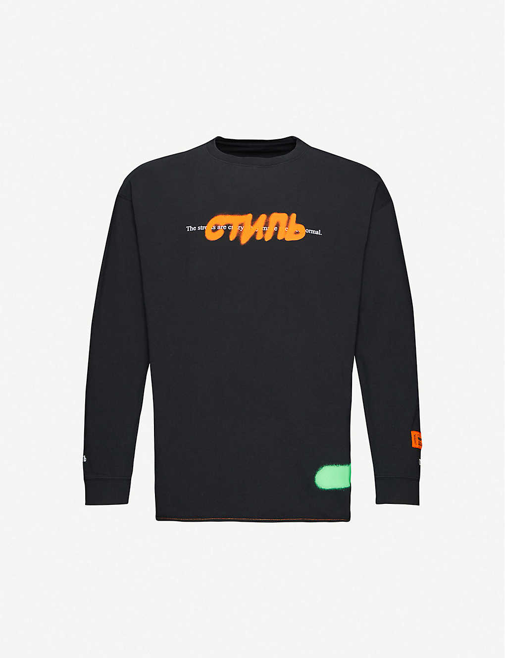 HERON PRESTON: Graphic-print cotton-jersey sweatshirt