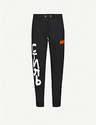 HERON PRESTON: Graphic-print cotton jogging bottoms